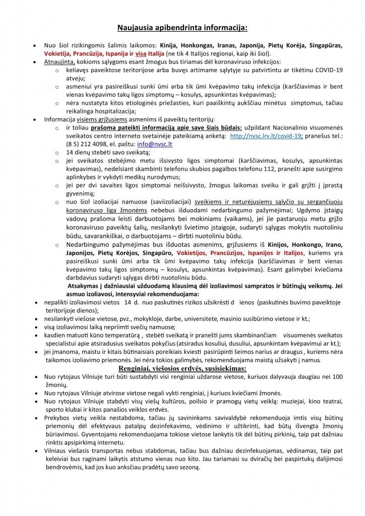 Naujausia apibendrinta informacija koronavirusas-1